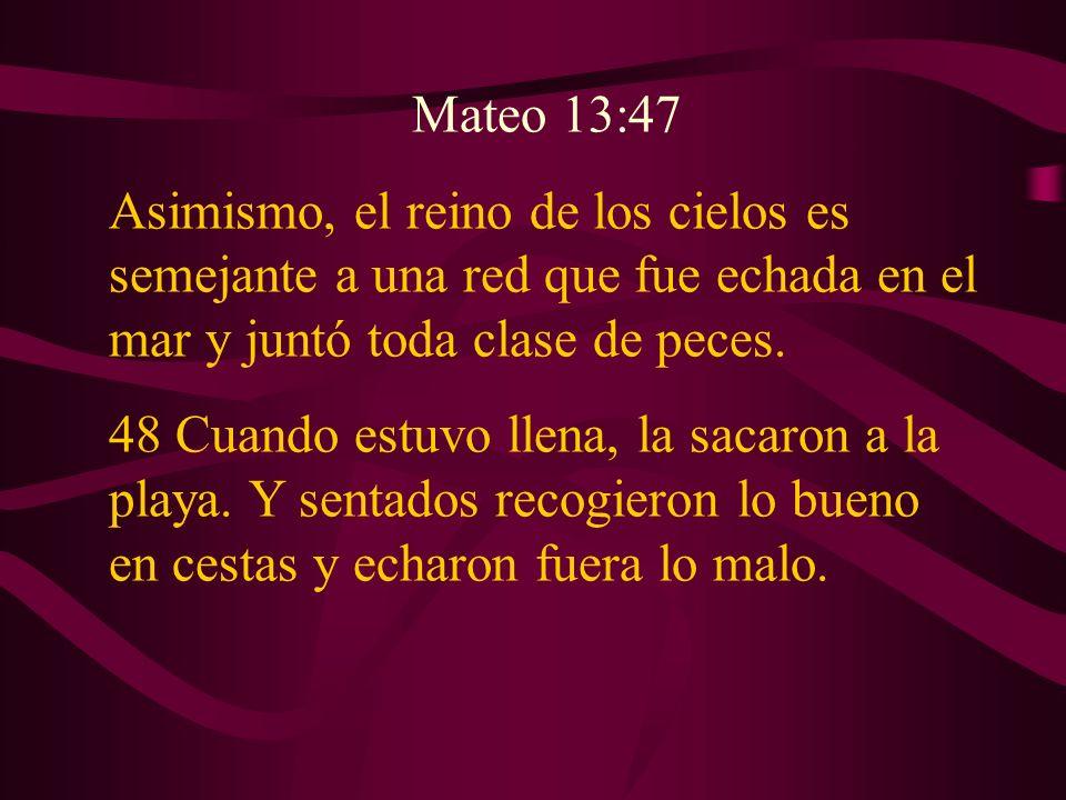 Mateo 13:47 Asimismo, el reino de los cielos es semejante a una red que fue echada en el mar y juntó toda clase de peces.