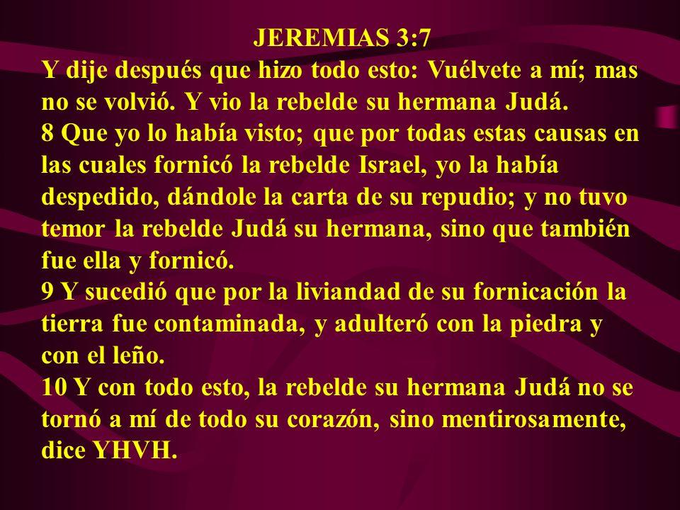 JEREMIAS 3:7 Y dije después que hizo todo esto: Vuélvete a mí; mas no se volvió. Y vio la rebelde su hermana Judá.