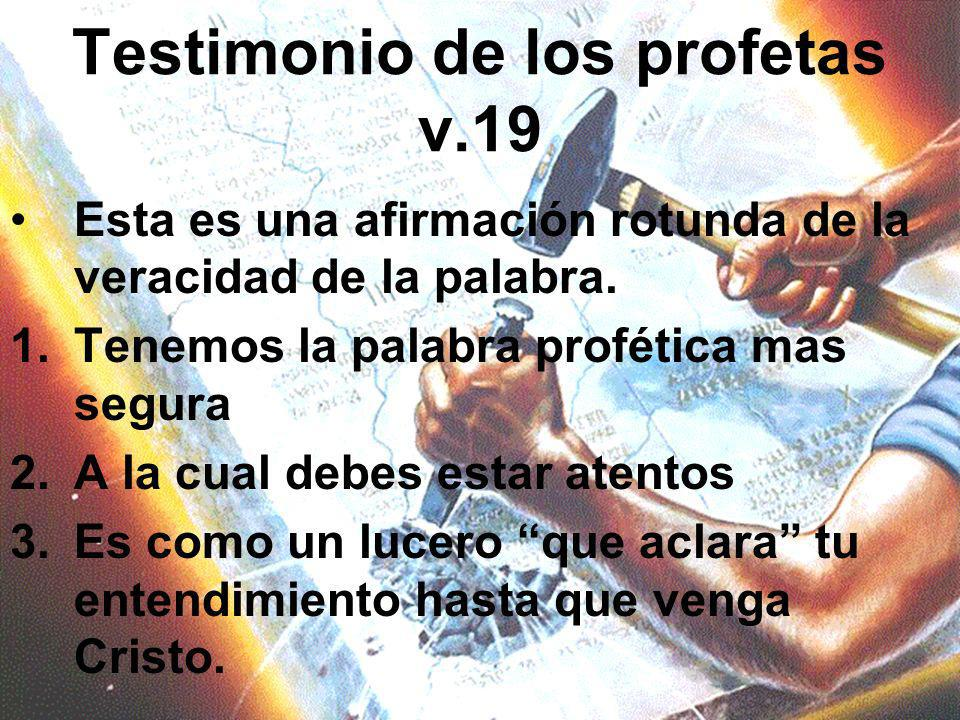 Testimonio de los profetas v.19