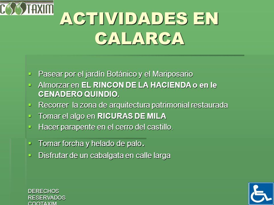 ACTIVIDADES EN CALARCA