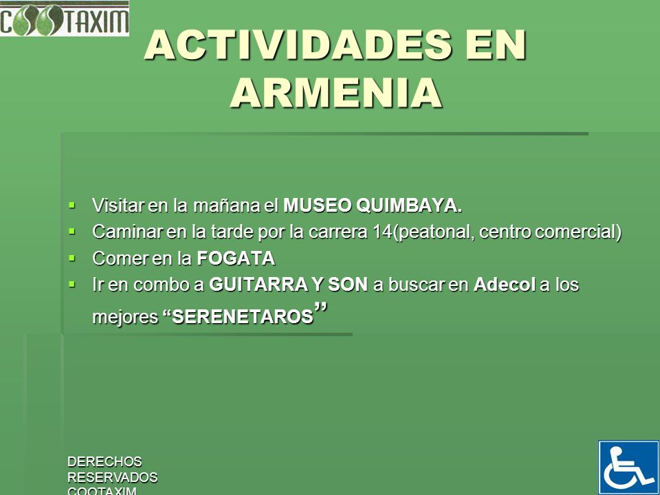 ACTIVIDADES EN ARMENIA