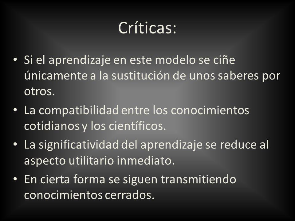 Críticas:Si el aprendizaje en este modelo se ciñe únicamente a la sustitución de unos saberes por otros.