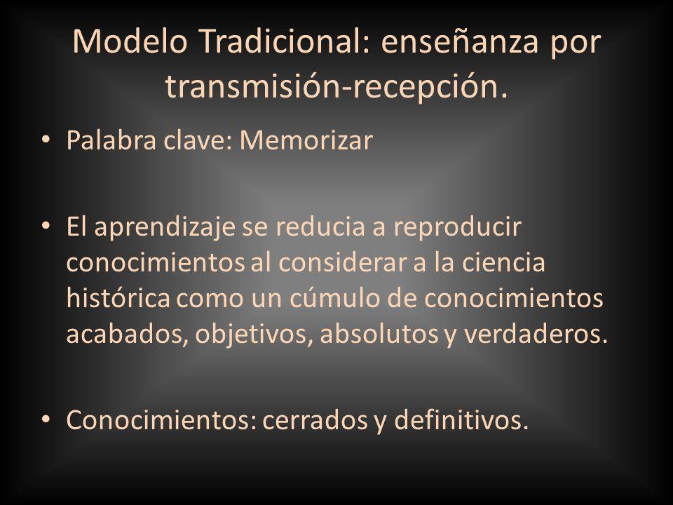 Modelo Tradicional: enseñanza por transmisión-recepción.
