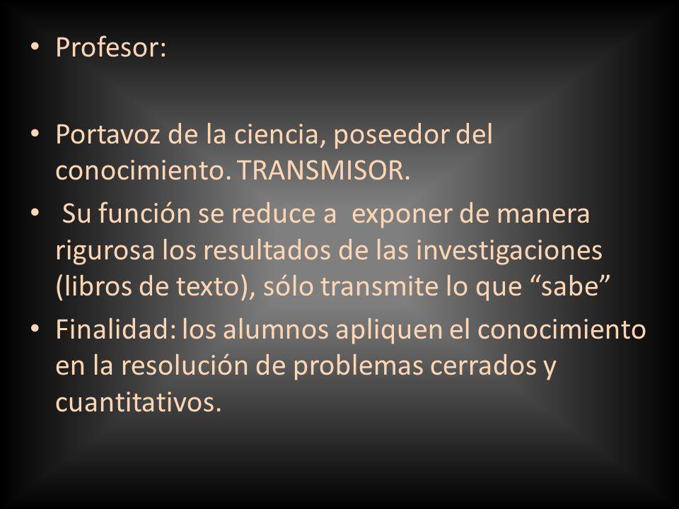 Profesor: Portavoz de la ciencia, poseedor del conocimiento. TRANSMISOR.