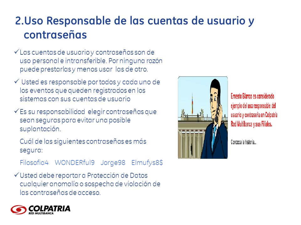 Uso Responsable de las cuentas de usuario y contraseñas