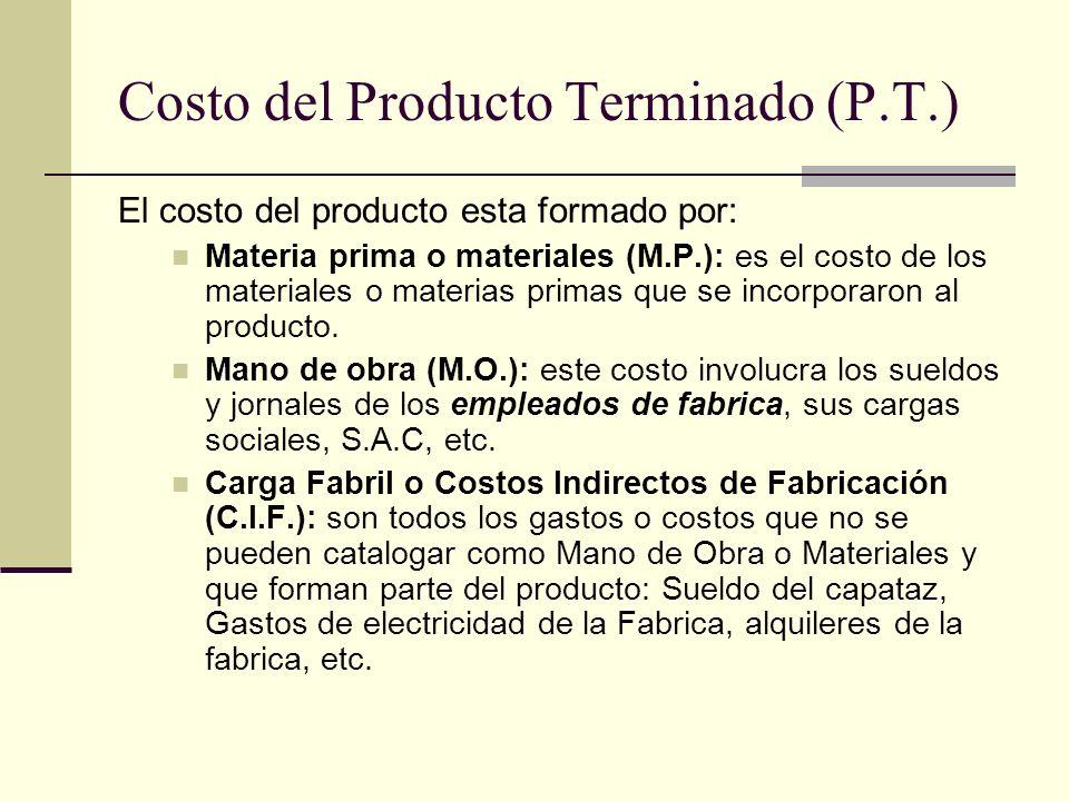Costo del Producto Terminado (P.T.)