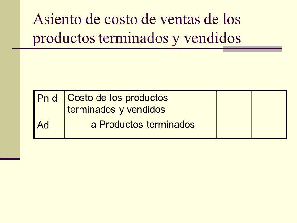 Asiento de costo de ventas de los productos terminados y vendidos