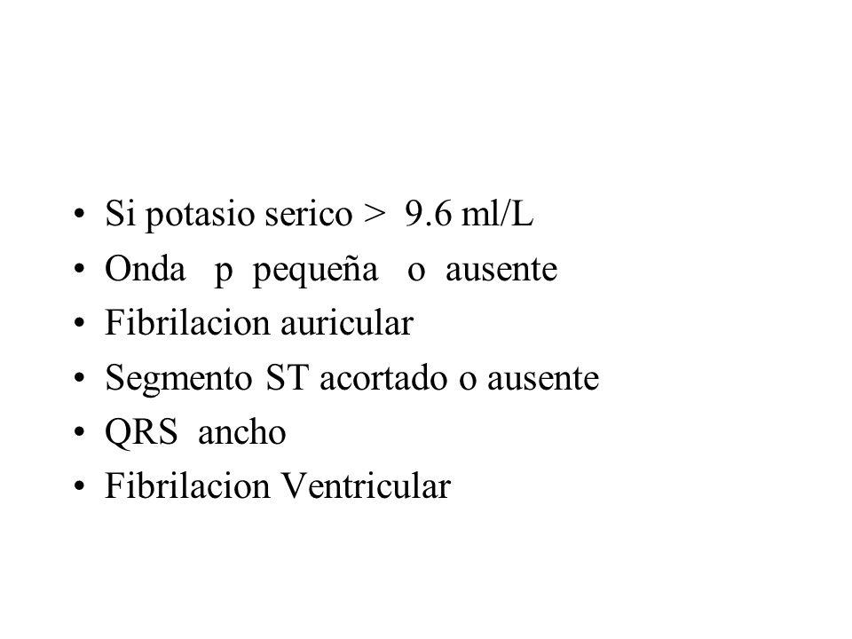 Si potasio serico > 9.6 ml/L