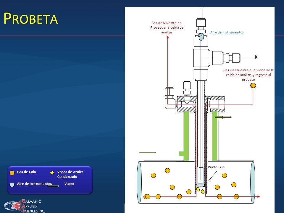 Probeta Gas de Muestra del Proceso a la celda de análisis