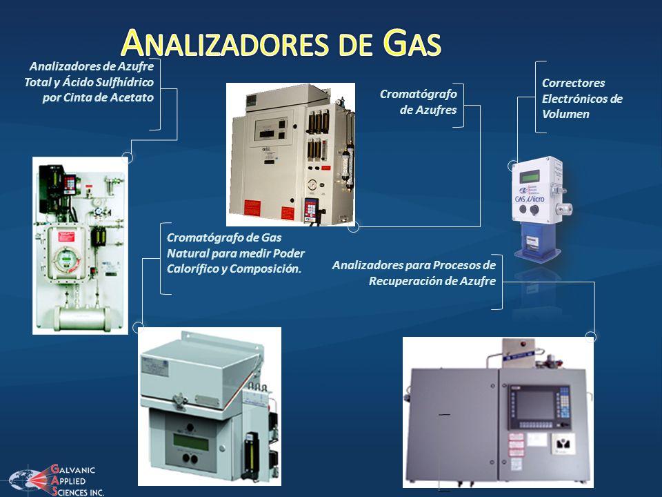 Analizadores de Gas Analizadores de Azufre Total y Ácido Sulfhídrico por Cinta de Acetato. Correctores Electrónicos de Volumen.