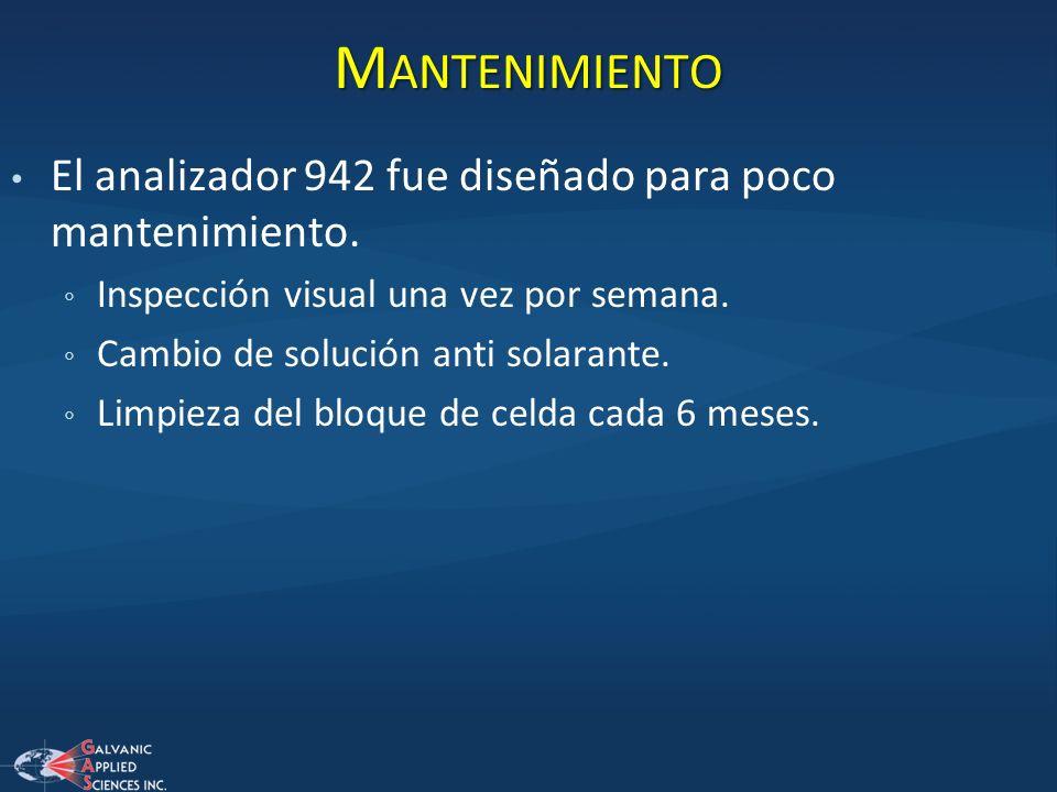 Mantenimiento El analizador 942 fue diseñado para poco mantenimiento.