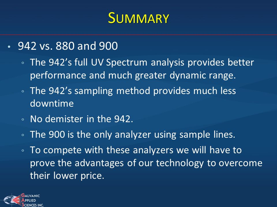 Summary942 vs. 880 and 900. The 942's full UV Spectrum analysis provides better performance and much greater dynamic range.