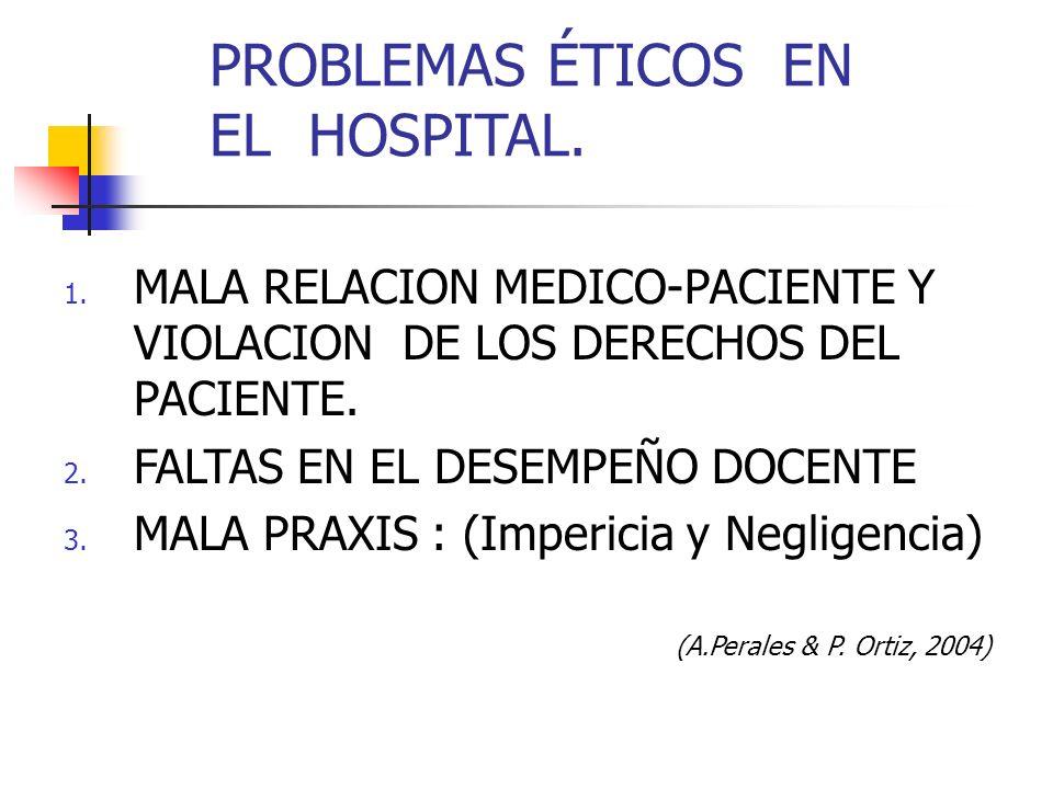 PROBLEMAS ÉTICOS EN EL HOSPITAL.