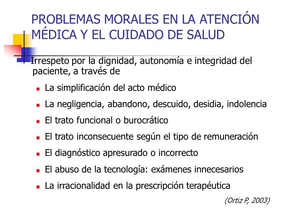 PROBLEMAS MORALES EN LA ATENCIÓN MÉDICA Y EL CUIDADO DE SALUD