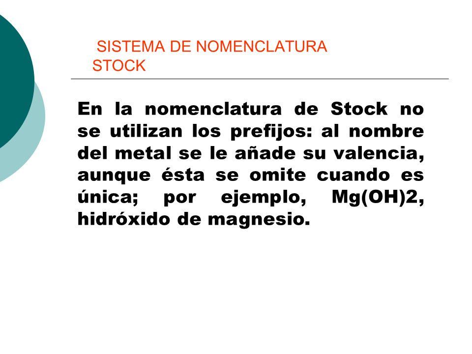 SISTEMA DE NOMENCLATURA STOCK