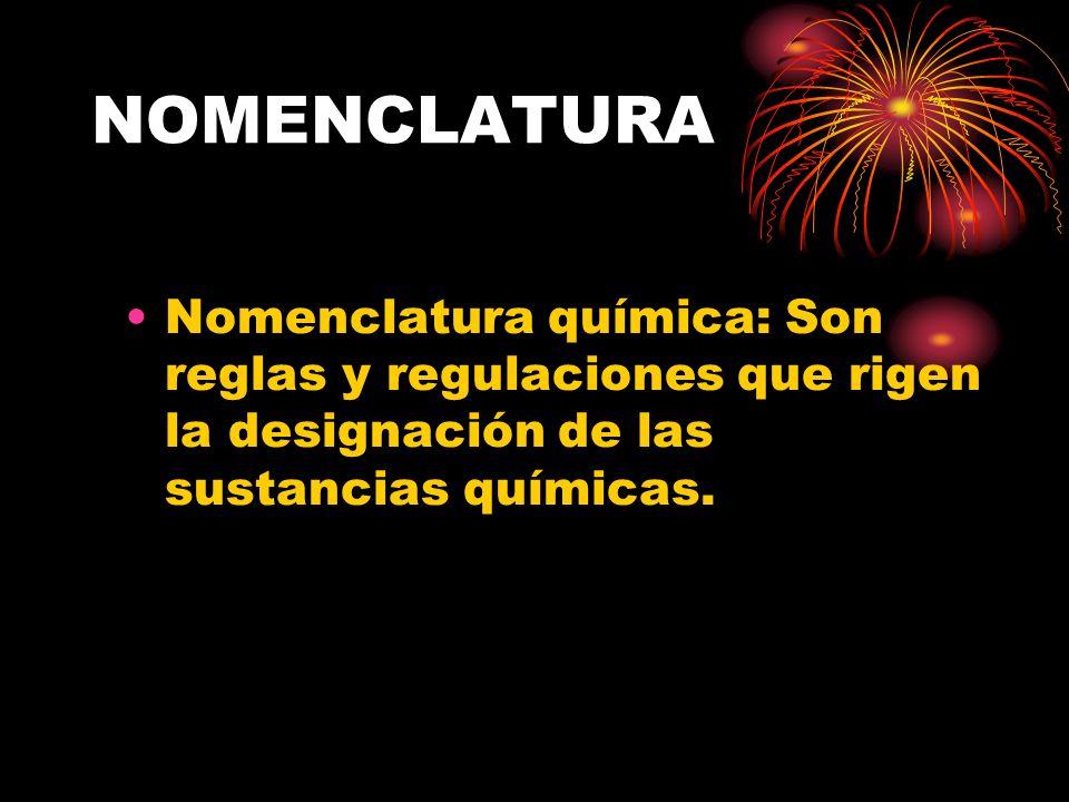 NOMENCLATURANomenclatura química: Son reglas y regulaciones que rigen la designación de las sustancias químicas.