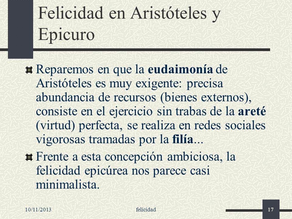 Felicidad en Aristóteles y Epicuro