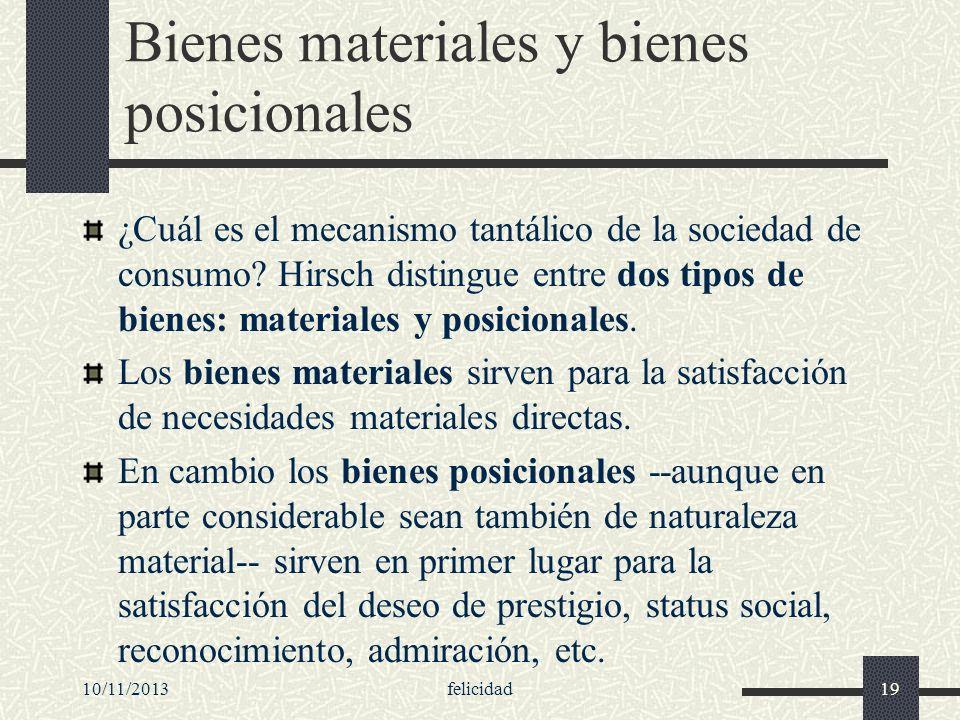 Bienes materiales y bienes posicionales