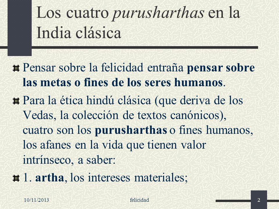 Los cuatro purusharthas en la India clásica