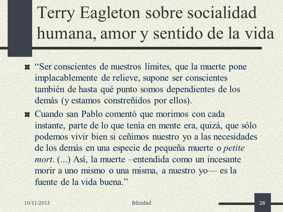 Terry Eagleton sobre socialidad humana, amor y sentido de la vida