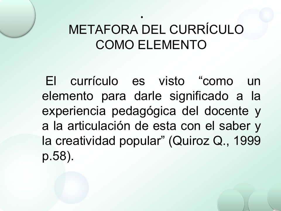 METAFORA DEL CURRÍCULO COMO ELEMENTO