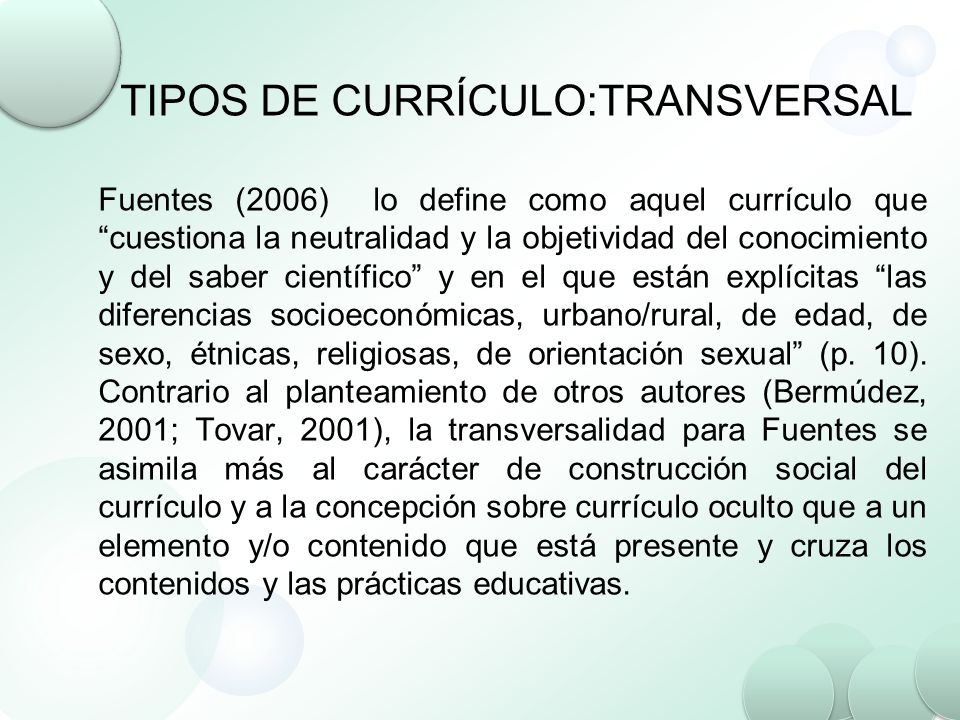 TIPOS DE CURRÍCULO:TRANSVERSAL
