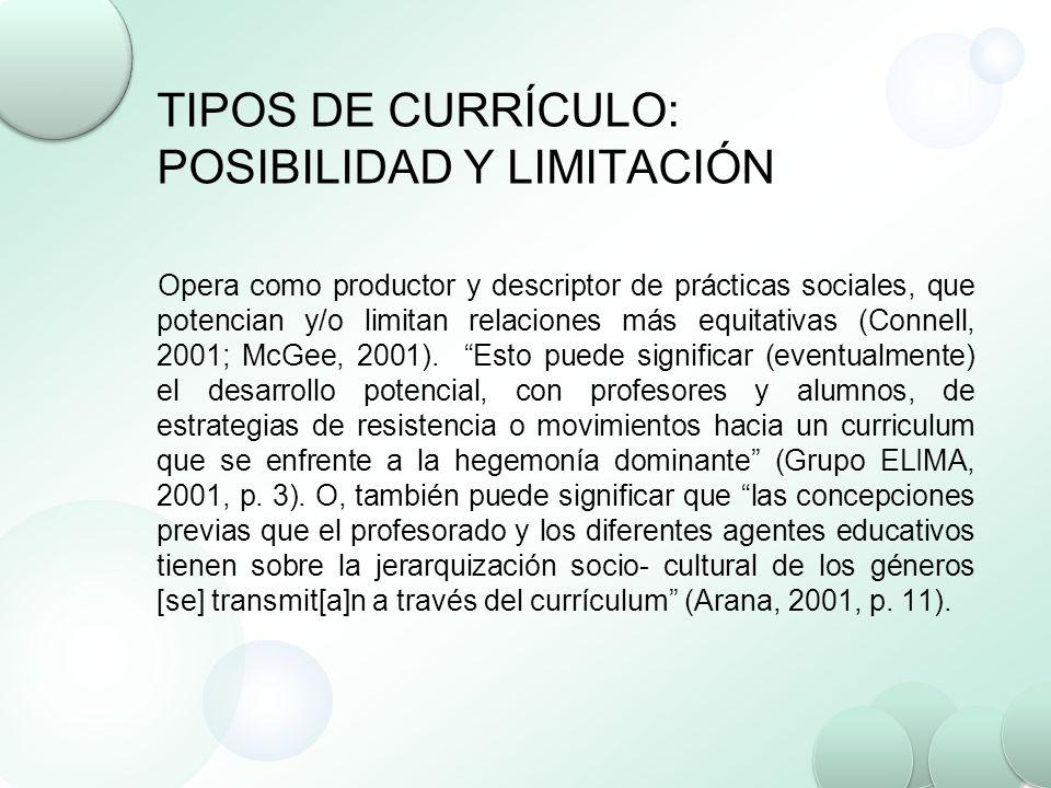 TIPOS DE CURRÍCULO: POSIBILIDAD Y LIMITACIÓN