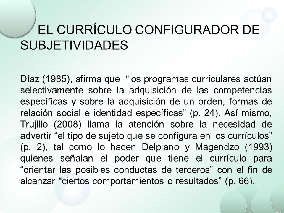 EL CURRÍCULO CONFIGURADOR DE SUBJETIVIDADES