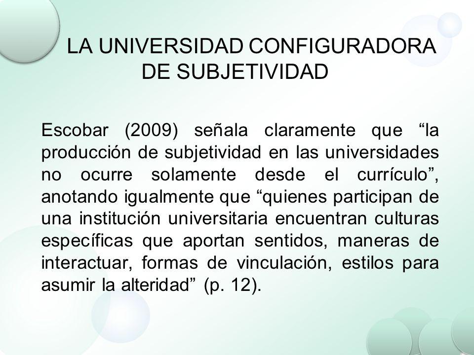 LA UNIVERSIDAD CONFIGURADORA DE SUBJETIVIDAD