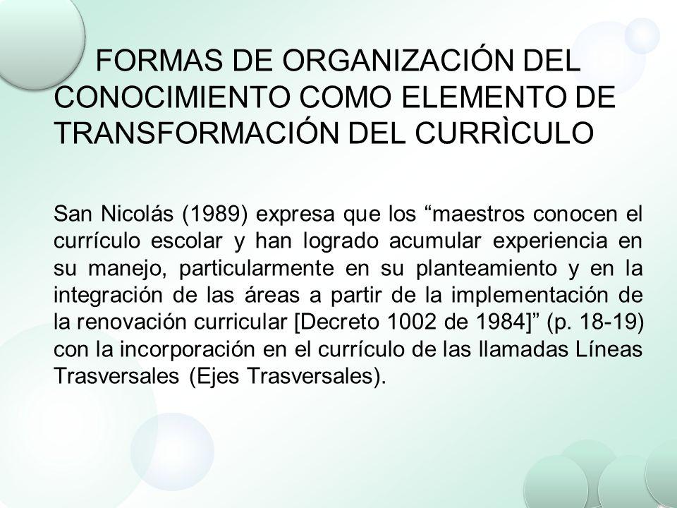FORMAS DE ORGANIZACIÓN DEL CONOCIMIENTO COMO ELEMENTO DE TRANSFORMACIÓN DEL CURRÌCULO