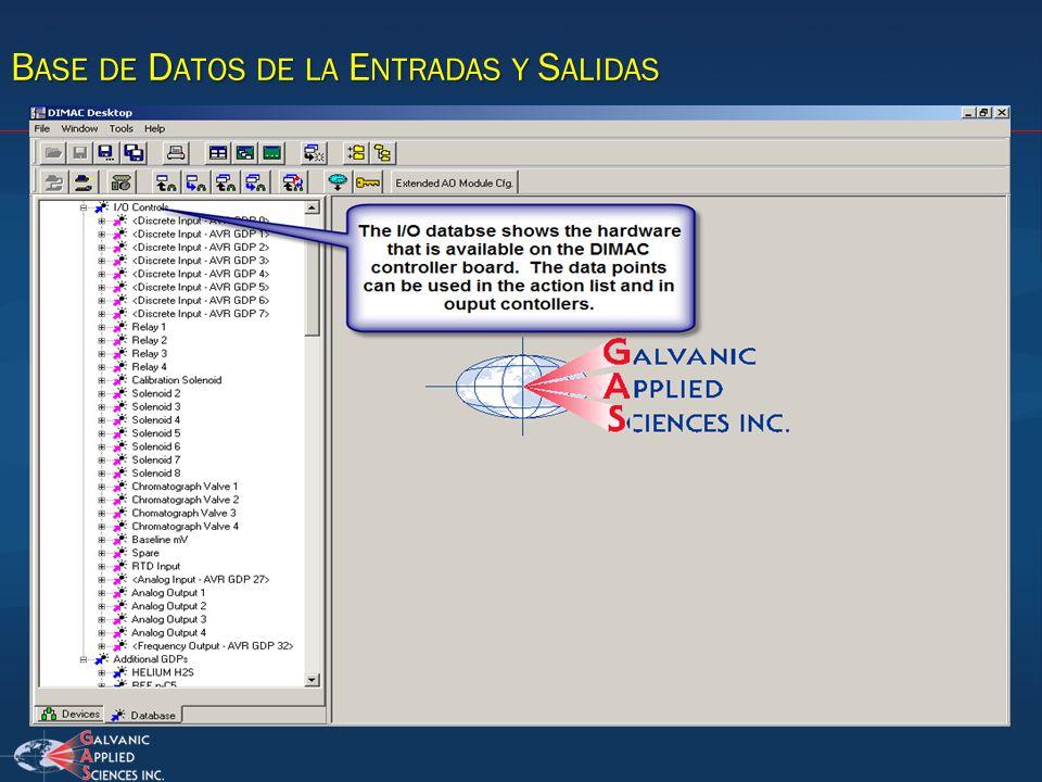 Base de Datos de la Entradas y Salidas