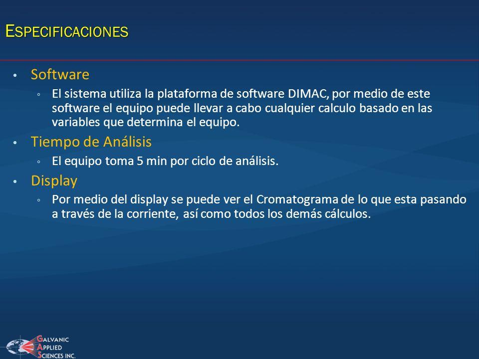 Especificaciones Software Tiempo de Análisis Display