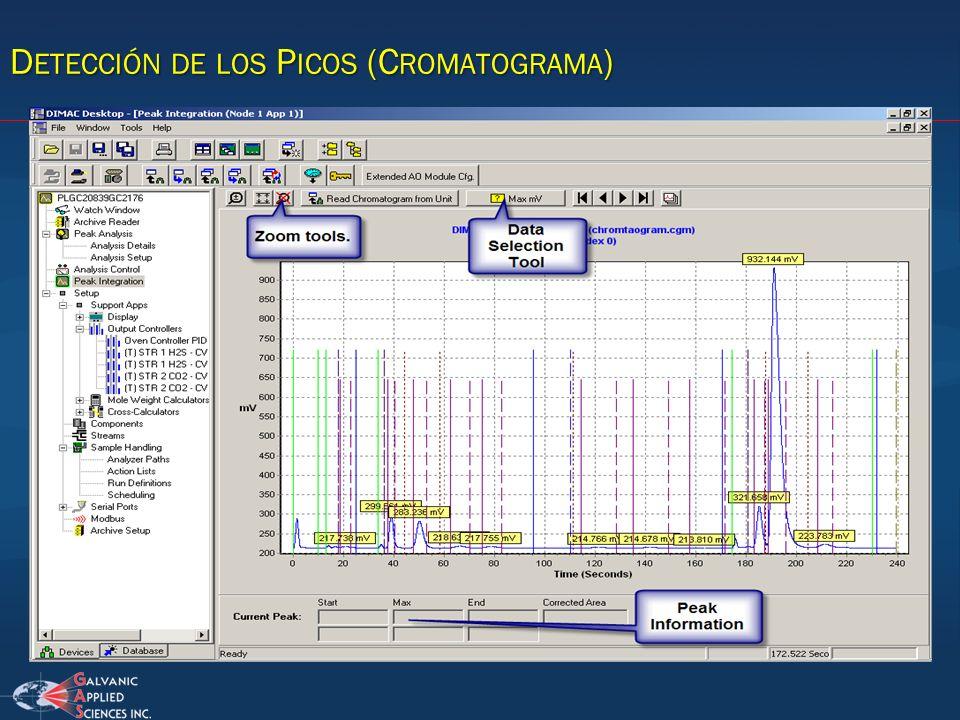 Detección de los Picos (Cromatograma)