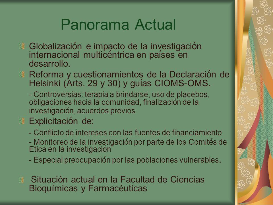 Panorama Actual Globalización e impacto de la investigación internacional multicéntrica en países en desarrollo.