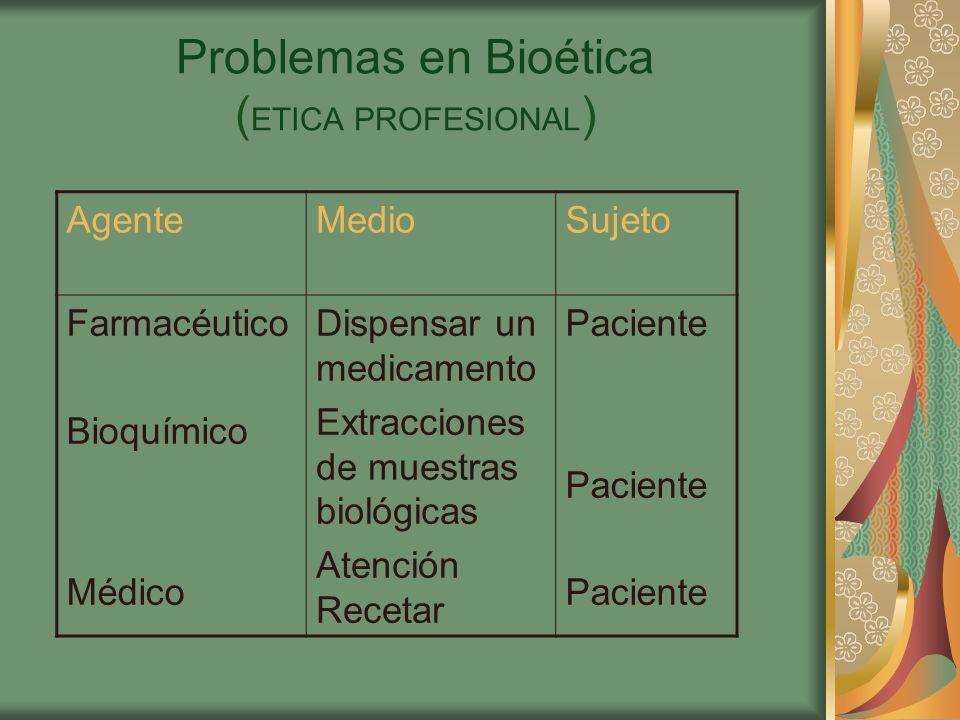 Problemas en Bioética (ETICA PROFESIONAL)