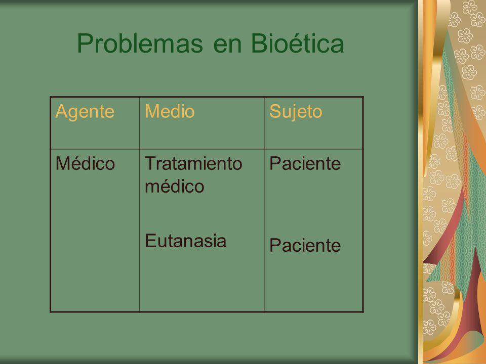 Problemas en Bioética Agente Medio Sujeto Médico Tratamiento médico