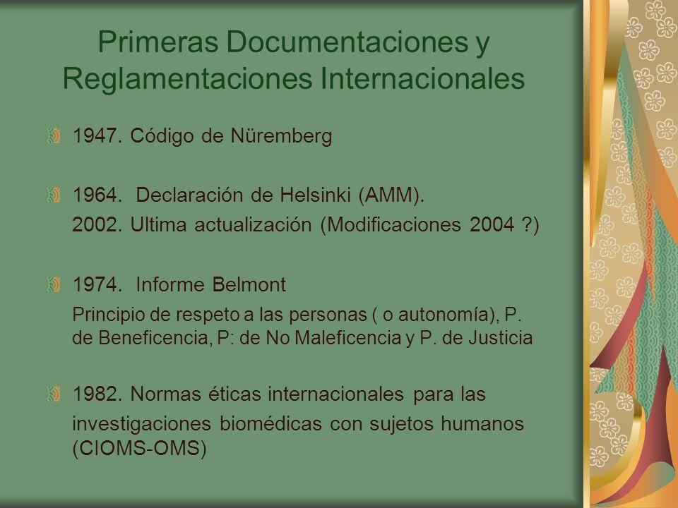 Primeras Documentaciones y Reglamentaciones Internacionales