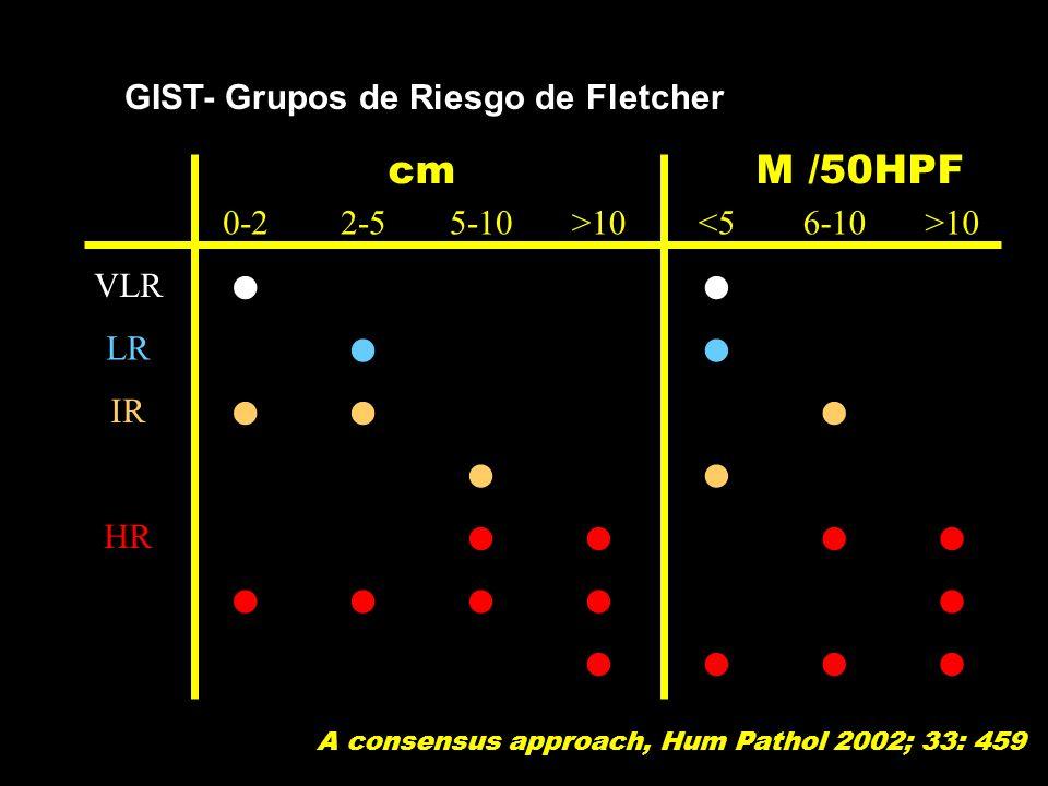 l cm M /50HPF GIST- Grupos de Riesgo de Fletcher 0-2 2-5 5-10 >10