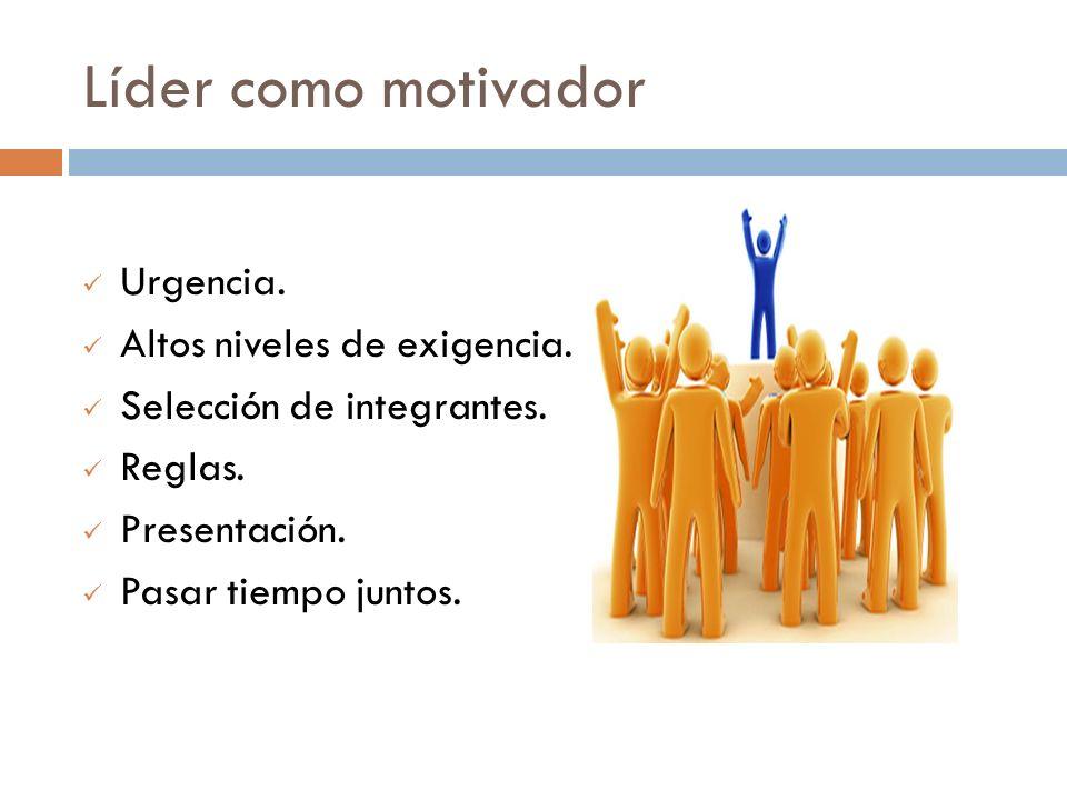 Líder como motivador Urgencia. Altos niveles de exigencia.