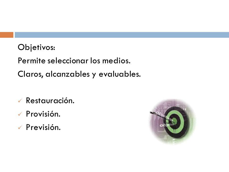 Objetivos: Permite seleccionar los medios. Claros, alcanzables y evaluables. Restauración. Provisión.