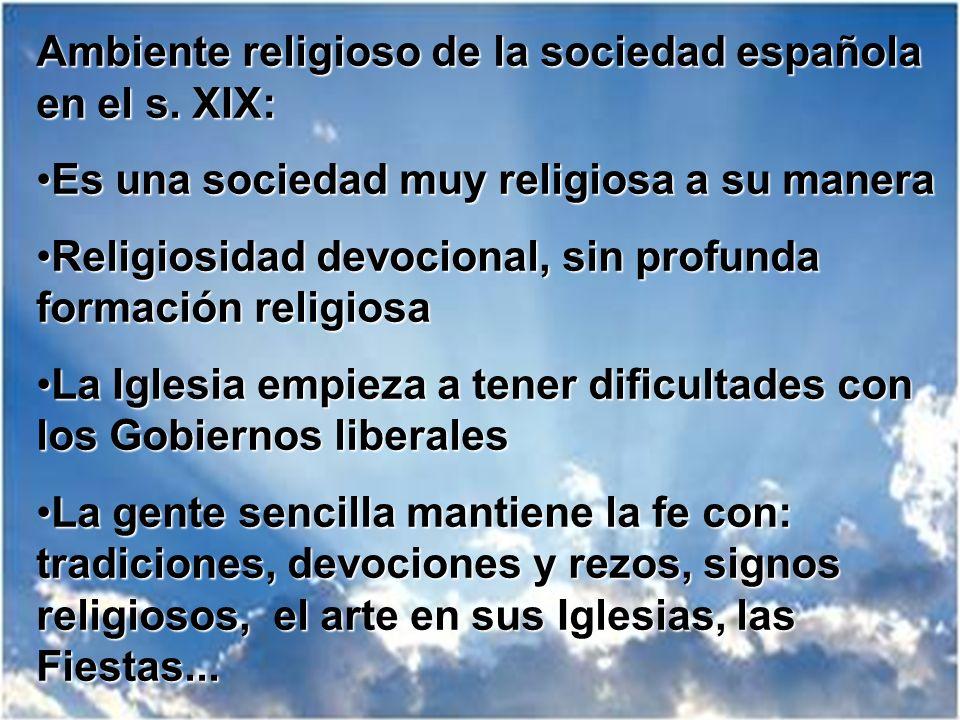 Ambiente religioso de la sociedad española en el s. XIX: