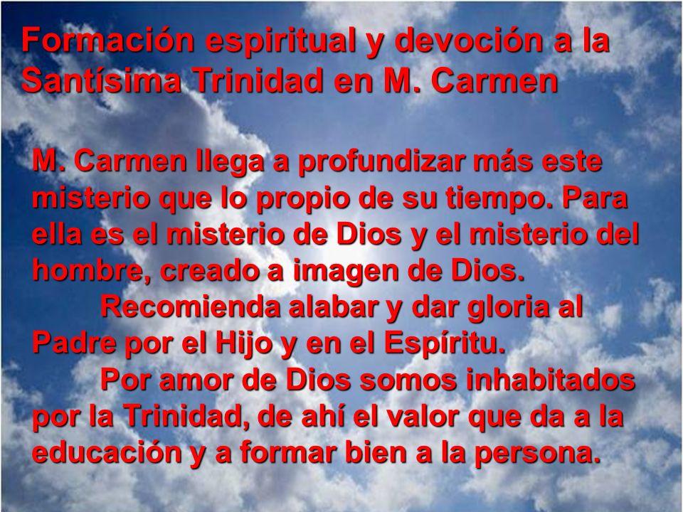 Formación espiritual y devoción a la Santísima Trinidad en M. Carmen