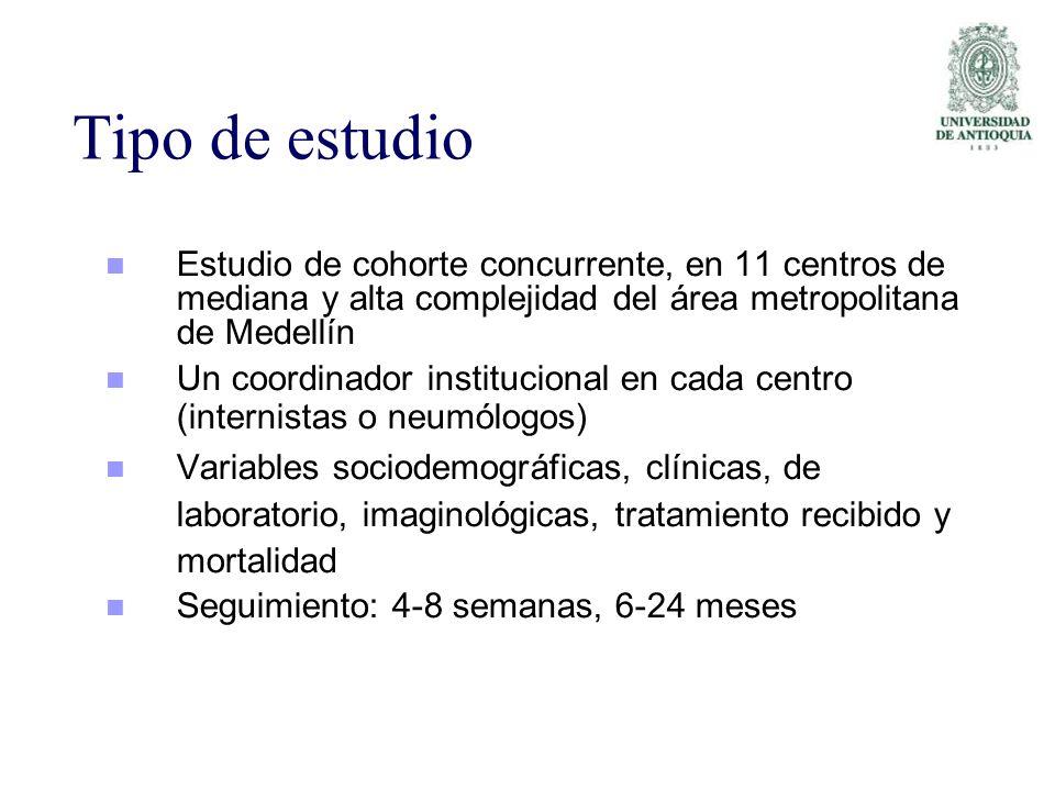 Tipo de estudio Estudio de cohorte concurrente, en 11 centros de mediana y alta complejidad del área metropolitana de Medellín.