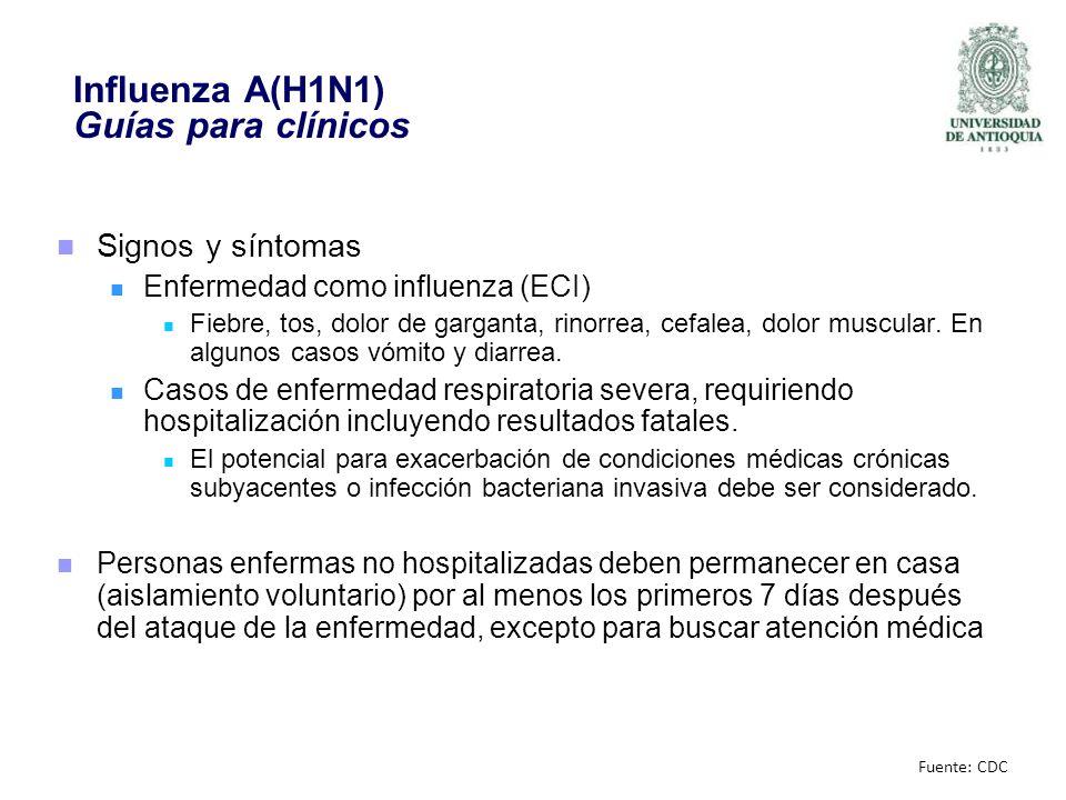 Influenza A(H1N1) Guías para clínicos