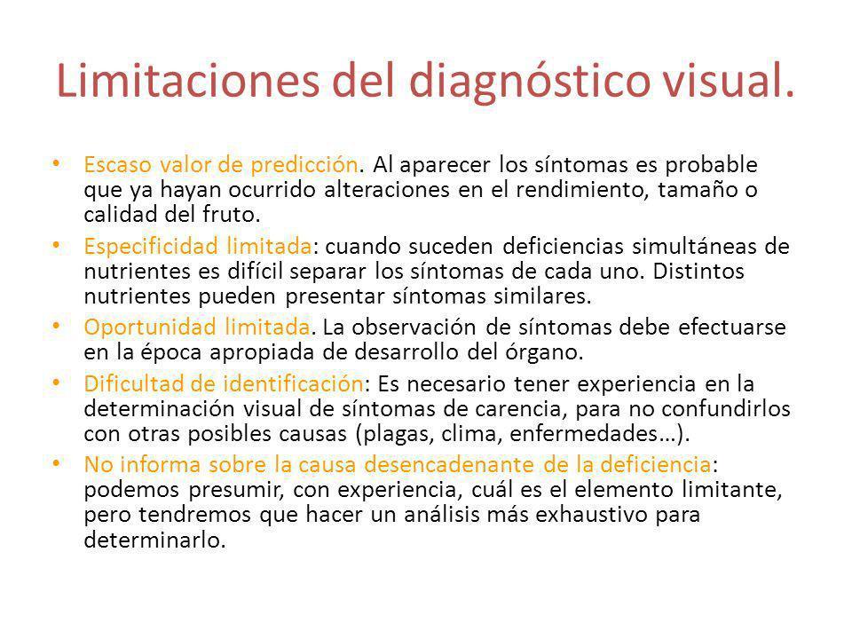 Limitaciones del diagnóstico visual.