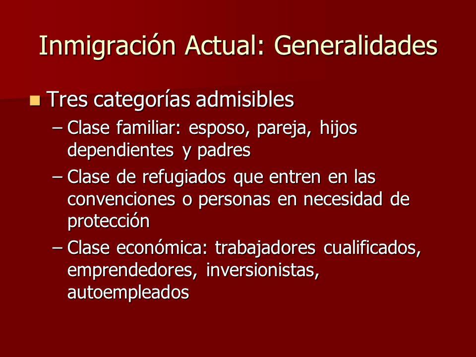 Inmigración Actual: Generalidades
