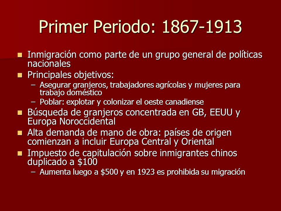 Primer Periodo: 1867-1913 Inmigración como parte de un grupo general de políticas nacionales. Principales objetivos: