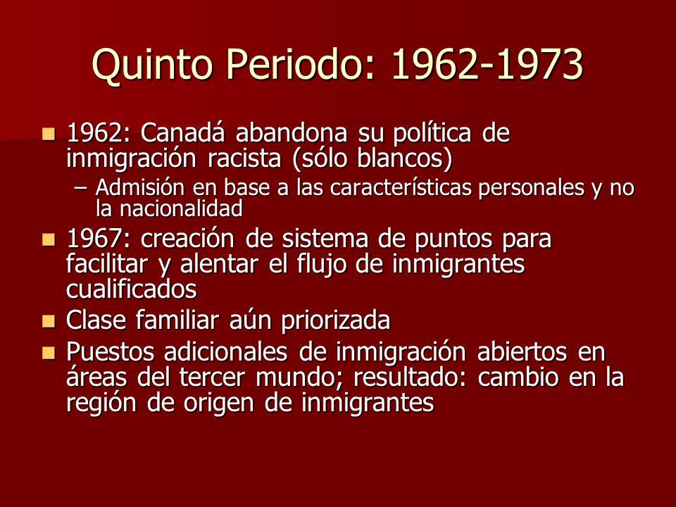 Quinto Periodo: 1962-1973 1962: Canadá abandona su política de inmigración racista (sólo blancos)