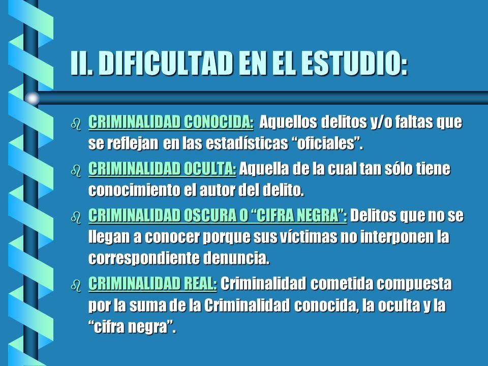 II. DIFICULTAD EN EL ESTUDIO:
