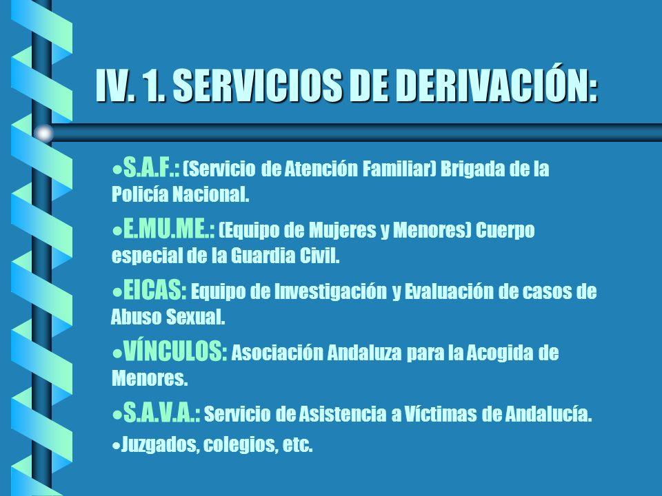 IV. 1. SERVICIOS DE DERIVACIÓN: